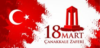 Marknad för Canakkale zaferi 18 Översättning: Turkisk nationell ferie av dagen för mars 18, 1915 den ottomanCanakkale segern vektor illustrationer