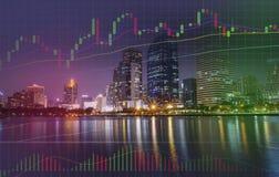 Marknad för handel för volym för diagram för stång för graf-/för materielForexgraf statistikdata i affärsstadsbyggnad arkivbild