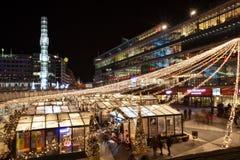 Marknad för 2015 jul i Stockholm Arkivfoto