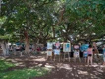 Marknad för konst för öppen luft i Lahaina Maui Hawaii Royaltyfri Bild