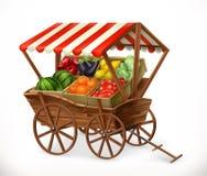 Marknad för ny jordbruksprodukter Vagn med frukter och grönsaker, vektorsymbol stock illustrationer