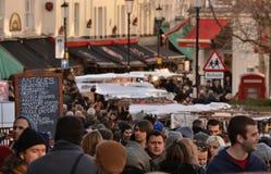 Marknad för Portobello väggata London Arkivbild