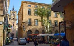 Marknad för ställeRichelme Farmer ` s, Aix-en-provence, Bouche-du-Rhone, Frankrike royaltyfri foto