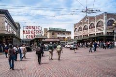 Marknad för pikställe i Seattle, WA Arkivfoto