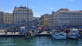 Marknad i den gamla porten av Marseille Arkivfoto