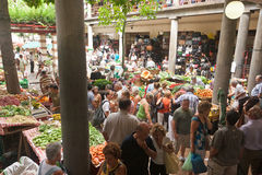 Marknad i Funchal, Madeira Arkivbild