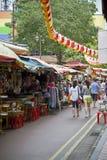 Marknad i kineskvarteret, Singapore Arkivfoto