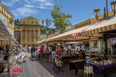 Marknad i Nice - söder av Frankrike Arkivfoton