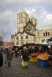 Marknad på de Munster Domna, Tyskland Royaltyfria Foton