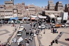Marknad Sanaa, Yemen Arkivfoto