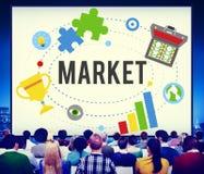 Marknaden planerar advertizingidéer globala Successs som brännmärker begrepp arkivbilder