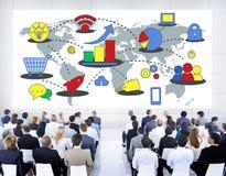Marknadsföra begrepp för massmedia för tillväxt för global affär kommersiellt Royaltyfri Foto