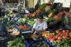 Marknadsföra kvinnor på marknaden, Mercado gör Bolhao, Porto Arkivbild
