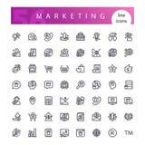 Marknadsföra linjen symbolsuppsättning Royaltyfri Fotografi