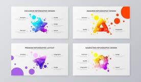 Marknadsföra mallen för analyticsvektorillustration Uppsättning för orientering för affärsdatadesign Infographic rapportpacke för royaltyfri illustrationer
