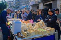 Marknadsföra platsen, delen av ferien av ferier i Haifa Arkivfoton