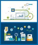 Marknadsföra strategianalys, marknadsföringsforskning, affärsanalytics och planläggningsbegreppet royaltyfri illustrationer