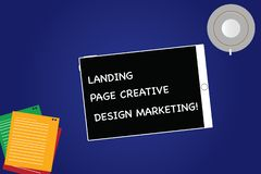 Marknadsföring för design för sida för handskrifttextlandning idérik Begrepp som betyder Homepage som annonserar koppen för skärm royaltyfri fotografi