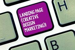 Marknadsföring för design för sida för landning för handskrifttexthandstil idérik Begrepp som betyder Homepage som annonserar soc arkivbilder