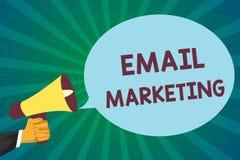 Marknadsföring för Email för ordhandstiltext Affärsidé för överföring av ett kommersiellt meddelande till en grupp människor som  stock illustrationer