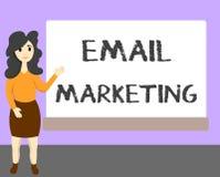 Marknadsföring för Email för ordhandstiltext Affärsidé för överföring av ett kommersiellt meddelande till en grupp människor som  vektor illustrationer