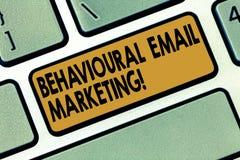 Marknadsföring för Email för ordhandstiltext beteende- Affärsidé för customercentric strategi för avtryckaregrundmessaging arkivbilder