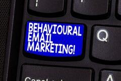 Marknadsföring för Email för ordhandstiltext beteende- Affärsidé för customercentric strategi för avtryckaregrundmessaging royaltyfria foton