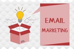 Marknadsföring för handskrifttextEmail Begreppsbetydelse som överför ett kommersiellt meddelande till en grupp människor som anvä stock illustrationer