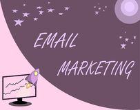 Marknadsföring för handskrifttextEmail Begreppsbetydelse som överför ett kommersiellt meddelande till en grupp människor som anvä vektor illustrationer