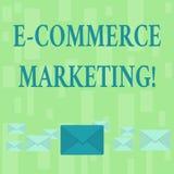 Marknadsföring för kommers för handskrifttext E Begreppsbetydelseaffär som säljer den pastellfärgade produkten eller service elek royaltyfri illustrationer