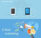 Marknadsföring för mobil kommunikation och mejl Arkivbild