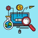 Marknadsföring för pengar för Seo optimizationaffär Plan design för online-kommersglobalisering royaltyfri illustrationer