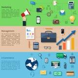 Marknadsföring, ledning och e-kommers vektor illustrationer