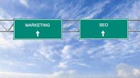 Marknadsföring och SEO Arkivbild