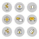 Marknadsföring online--shopping linje symbolsuppsättning Stock Illustrationer