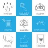 Marknadsföring, socialt massmedia, seo & e-kommers - begreppsvektorsymboler royaltyfri illustrationer