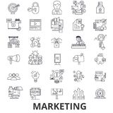 Marknadsföringen marknadsföringsstrategi, advertizingen, affär och att brännmärka, socialt massmedia fodrar symboler Redigerbara  royaltyfri fotografi