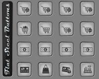 Marknadsförings- och e-kommers symbolsuppsättning stock illustrationer