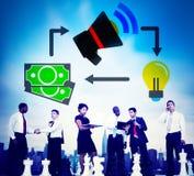 Marknadsföringsbefordran som brännmärker budget- finansiellt idébegrepp royaltyfri bild