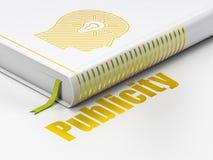 Marknadsföringsbegrepp: boka huvudet med den ljusa kulan, publicitet på vit bakgrund Arkivfoto