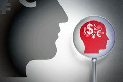 Marknadsföringsbegrepp: Head med finanssymbol med optiskt exponeringsglas på digital bakgrund Royaltyfri Foto