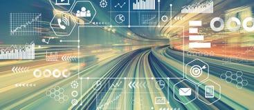 Marknadsföringsbegrepp med abstrakt snabb teknologi royaltyfri bild