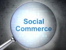 Marknadsföringsbegrepp: Social kommers med optiskt exponeringsglas vektor illustrationer