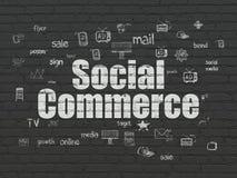 Marknadsföringsbegrepp: Social kommers på väggbakgrund royaltyfri illustrationer