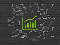 Marknadsföringsbegrepp: Tillväxtgraf på väggbakgrund arkivbild
