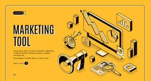 Marknadsföringse-kommers, baner för dataanalyshjälpmedel vektor illustrationer