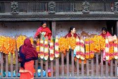 marknadsföringsmorgon patan nepal Arkivbild