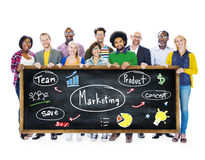 Marknadsföringsstrategi Team Business Commercial Advertising Concept Royaltyfria Bilder
