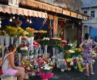 Marknadsförsäljare på den Rahova blommamarknaden, Bucharest, Rumänien Arkivbilder