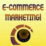 Marknadsf?ring f?r kommers f?r handskrifttext E Begreppsbetydelseaffär som säljer produkten eller volym för service elektroniskt vektor illustrationer